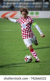 RIJEKA, CROATIA - OCTOBER 6, 2017: European qualifier for 2018 FIFA World Cup Russia. Round 1, Group 1 - Croatia VS Finland. Luka MODRIC (10)