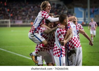 RIJEKA, CROATIA - OCTOBER 6, 2017: European qualifier for 2018 FIFA World Cup Russia. Round 1, Group 1 - Croatia VS Finland. Croatian players celebrating goal