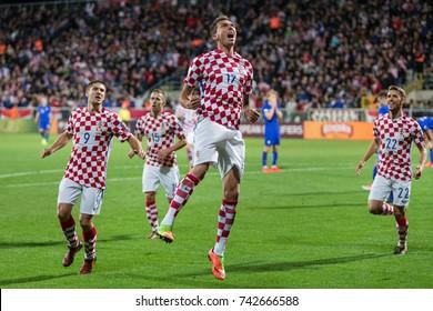RIJEKA, CROATIA - OCTOBER 6, 2017: European qualifier for 2018 FIFA World Cup Russia. Round 1, Group 1 - Croatia VS Finland. Mario MANDZUKIC (17) celebrating goal