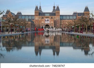 Rijksmuseum with I Amsterdam sign, Holland