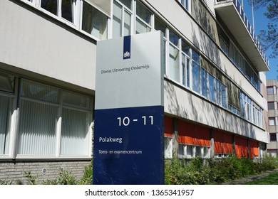 Rijswijk, the Netherlands. April 2019. Dutch ministry called Dienst Uitvoering Onderwijs or DUO. Translation: The Education Executive Agency of the Dutch Ministry of Education, Culture and Science.