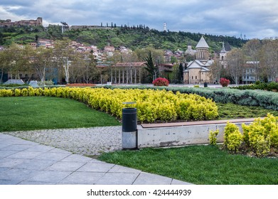 Rike Park with view on Orthodox Sioni Cathedral and Narikala Fortress in Tbilisi, capital of Georgia