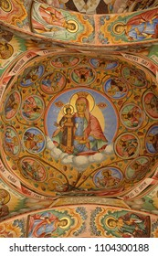 RILA, BULGARIA April 27 2018: Frescos  at Rila Monastery church. The monastery is the most important in Bulgaria and a UNESCO World Heritage site.