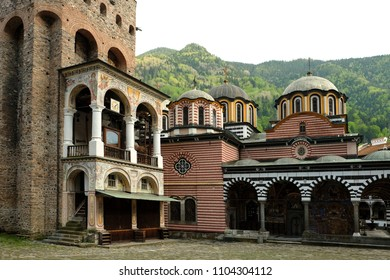RILA, BULGARIA - APRIL 27, 2018: View of the Rila monastery with the bell tower on the left.  Is was founded by Saint Ivan (John) of Rila.