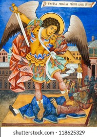 RILA, BULGARIA - JULY 8: Wall painting of St. Michael at Rila Monastery church. The monastery is the largest in Bulgaria and a UNESCO World Heritage site. July 8, 2012, Rila, Bulgaria.