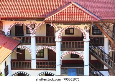 Rila monastery architectural archs details close-up, Bulgaria