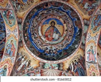 Rila Monastery, Rila Mountains, Bulgaria  Fresco on the facade of The church of the Nativity of the Virgin