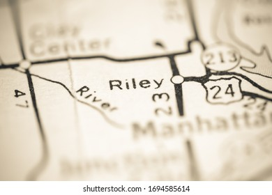 Riley. Kansas. USA on a geography map.