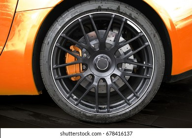 rim with brake system of a sports car