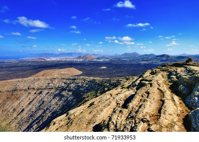 The rim of Caldera Blanca, a volcano on Lanzarote, in the Spanish Canary Islands.