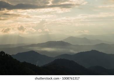 Rim light & Sun light on Mountain Hight view at Monjam Chaingmai