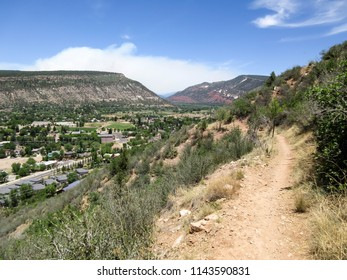 Rim trail and smoke from the 416 forest fire in Durango, Colorado