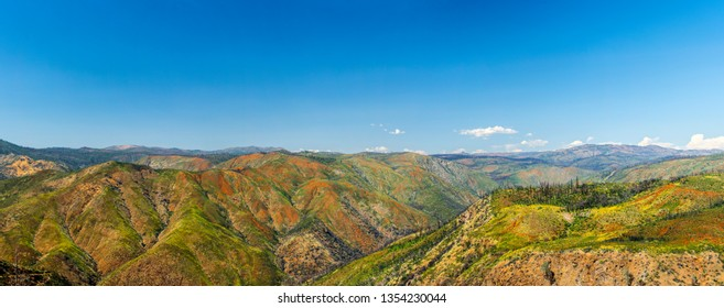 Rim of the World vista oversees Tuolumne Wild and Scenic River from Highway 120. Stanislaus National Forest, California, USA. Panoramic picture