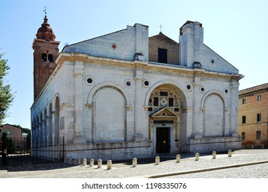 Rimini, Italy - aug 28 2018: Malatestiano Tempio, designed by Leon Battista Alberti architect