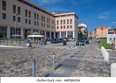 Rimini, Italy - Circa August 2013: Streets in the center of city at sunny summer day.
