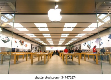 RIMINI, ITALY - DECEMBER 05, 2015: Apple store located in a shopping center on Via Caduti di Nassiriya Rimini, ITALY. Apple Inc  sells computer and electronic devices by a modern global retail chain