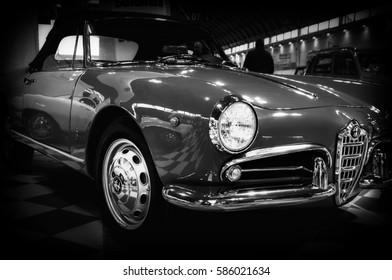 RIMINI , Italy - FEBRARY 12, 2017: vintage italian car Alfa Romeo Giulietta Spider 1600 (1964)