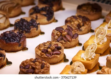 RIMINI, ITALY - JANUARY 23 2016 - Editorial: at the Sigep fair in Rimini, showcase full of pastries prepared by the best confectioners