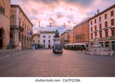 Rimini, Italy - June 13, 2018: Historical Cavour Square of Rimini in the morning. Sightseeing of Rimini.