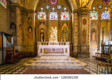 Rimini, Italy - June 15, 2018: Interior of the cathedral in Rimini. Beautiful ancient italy architecture.