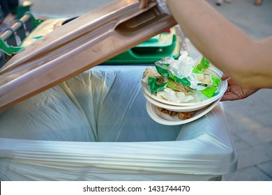 Rimini, Italy - june 2019: bioplastic and compostable dishes to be thrown  into the organic bin