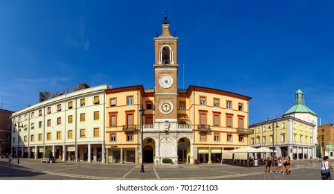 Rimini, Italy - June 21, 2017: The square Piazza tre Martiri with the ancient clock tower