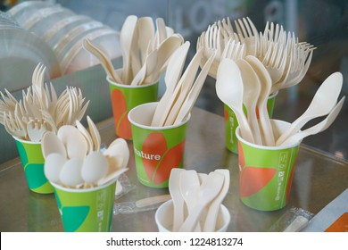 Rimini, Italy - november 2018: bioplastic spoon fork biodegradable