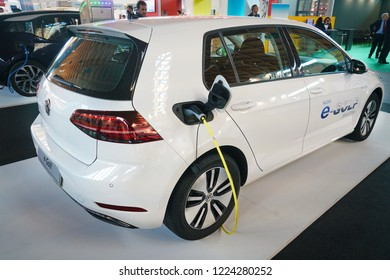 Rimini, Italy - November 2018: Volkswagen e-Golf, presented at the Rimini Eco Show, is one of the most popular zero-emission electric cars, so much so that in January 2018 it was the most sold in West
