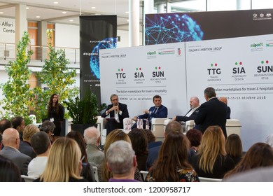 RIMINI, ITALY - OCT 10, 2018: Conference with Gian Marco Centinaio italian minister of tourism and agricolture, during TTG, SIA and SUN exhibitions.