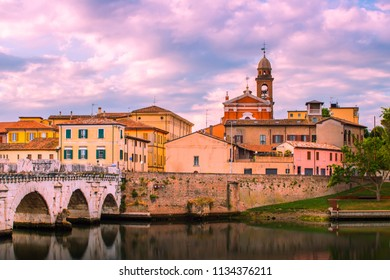 Rimini. Old town Rimini with bridge in the morning.