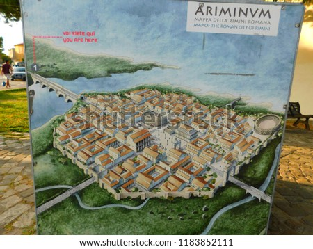 Rimini Italy 08132018 Map Ancient City Stock Photo Edit Now