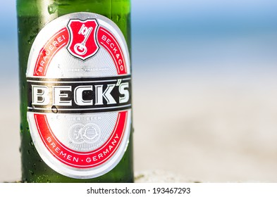 Rimini,Rivazzurra,IT. May 18,2014.Beck's beer close up.Beck's Brewery, is a German brewery in the northern German city of Bremen. Beck's is the world's best selling German beer