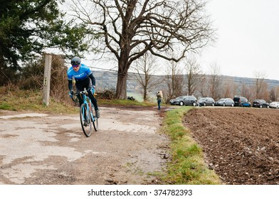 RIMSINGEN, GERMANY - February 7: Cyclocross competitors race against each other during a racing simulation in Rimsingen, Germany on 02/07/16