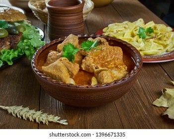 Rindsgulasch, Austrian Beef Goulash, national  cuisine, Traditional assorted dishes, Top view.