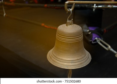Ring bell with empty boxing stadium background,muay thai