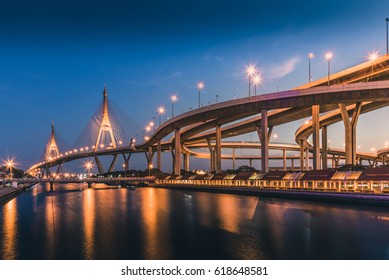 the ring of the Bhumibol bridge. Traffic routes in major cities. The bridge and the sunset sky.