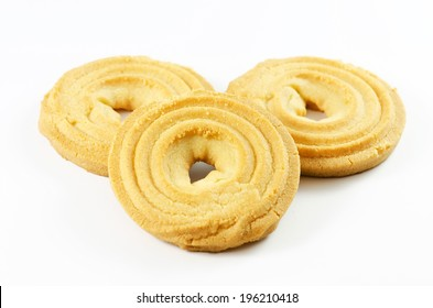 Ring biscuits pile isolated on a white background.