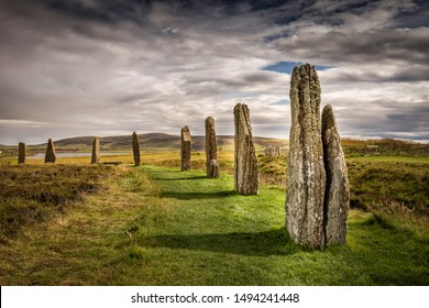 Ring Of Brodgar, Orkney, Scotland. A neolithic stone circle and henge which is part of The Heart of Neolithic Orkney World Heritage Site.
