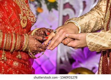 Ring Ceremony , a Hindu wedding ritual wherein bride and groom hand over their rings to each others as symbol of love and life long togetherness.