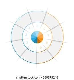 Ring from colored lines infographic nine number options for text areas