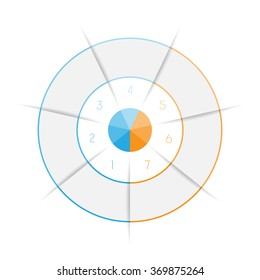 Ring from colored lines infographic seven number options for text areas