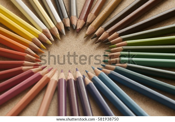 ring of colorful pencils