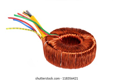 Ring core transformer. Copper coil.