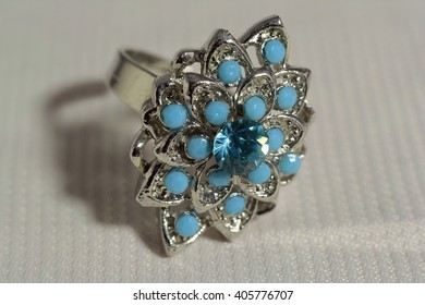 ring decoration of blue stone and silver.