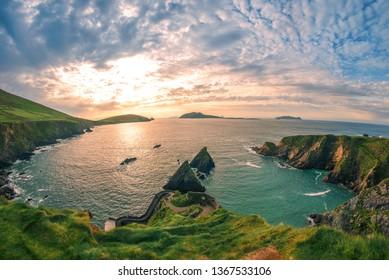 Ring of Dingle Peninsula Kerry Ireland Dunquin Pier Harbor Rock Stone Cliff Landscape Seascape
