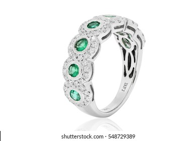 9c5a7f93ef99 Ring of emeralds with blue and white diamonds