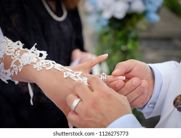 Ring exchanging wedding ceremony