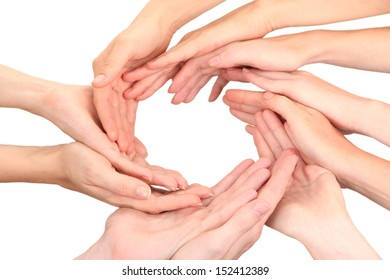 Ring of hands. Conceptual photo of teamwork, isolated on white