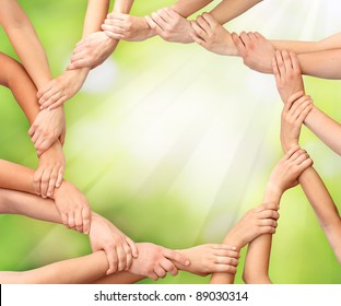 Ring of hands teamwork in nature