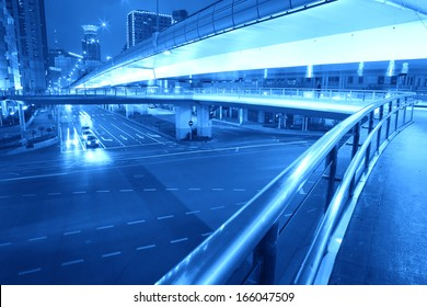 Ring Highway at night with light trails in shanghai China